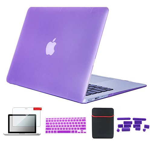 Se7enline MacBook Air Cases 13 Hard Shell Case Cover for MacBook Air 13 inch A1369, A1466 with Soft Sleeve Bag, Silicone Keyboard Cover, Clear LCD Screen Protector, Dust Plug (5 Items) Light Purple