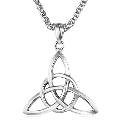 (Ineffable Stainless Steel Irish Triquetra Celtic Knot Trinity Pendant Necklace Vintage Pendant Necklace with Chain (Silver))