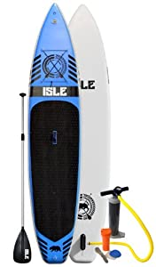 """Isle 12 ft 6 inch Inflatable Stand Up Paddle Board with Pump and 3 Piece Adjustable Paddle (6"""" Thick) Super Durable from Isle Surf & SUP"""
