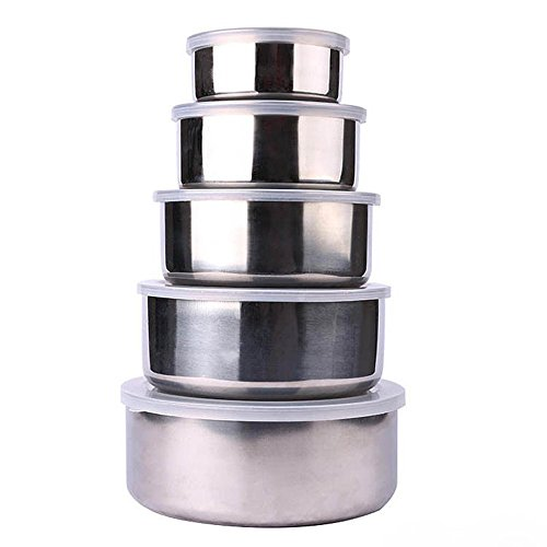 Fan-Ling 5 Pcs Stainless Steel Home Kitchen Food Container Storage Mixing Bowl Set,Stainless Steel Fresh Bowl,Great for Packing lunches or Taking Snacks on The go