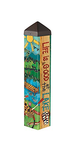 Studio M Garden Art Pole Fade-Resistent Outdoor Décor , 20-Inches Tall, Lake Welcome