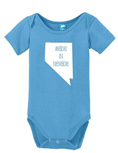 Caesar Three Light - Made In Nevada Printed Infant Bodysuit Baby Romper Light Blue 3-6 Month