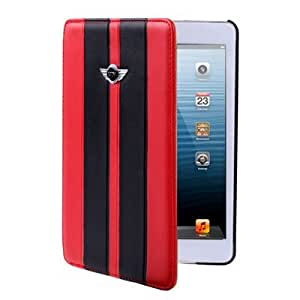 DapurMu - MINI COOPER Car Series Dual Colors Leather Case with Holder for iPad mini (Red)