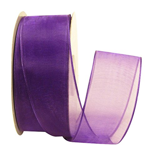 - Ribbon Bazaar Wired Sheer Organza 1-1/2 inch Purple 25 Yards Ribbon