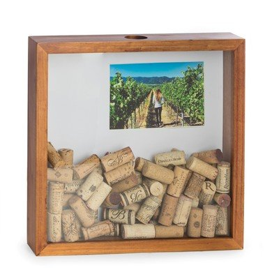 (Bey-Berk Wine Bottle Corks Wooden Wood Shadow Box w/Photo Insert Matte Holds a 4 x 6 Picture)