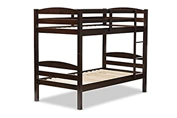 Baxton Studio Hamlet Solid Wood Over Bunk Bed - Twin - Dark Brown