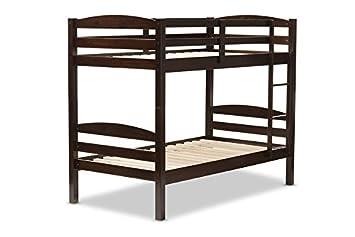 Baxton Studio Hamlet Solid Wood Over Bunk Bed - Twin - Dark Brown