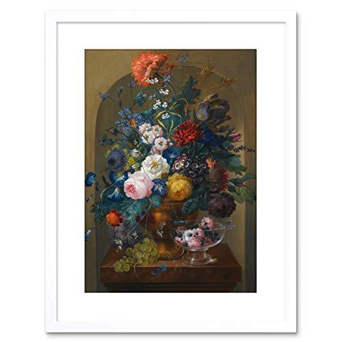Painting Drechsler Still Life Of Flowers Small Framed Wall Art Print