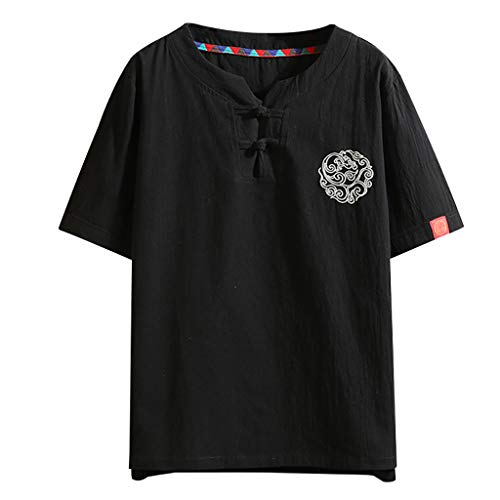 Men's Summer Vintage Embroidery Linen Patchwork Loose Short Sleeve T-Shirt Tops, MmNote Black