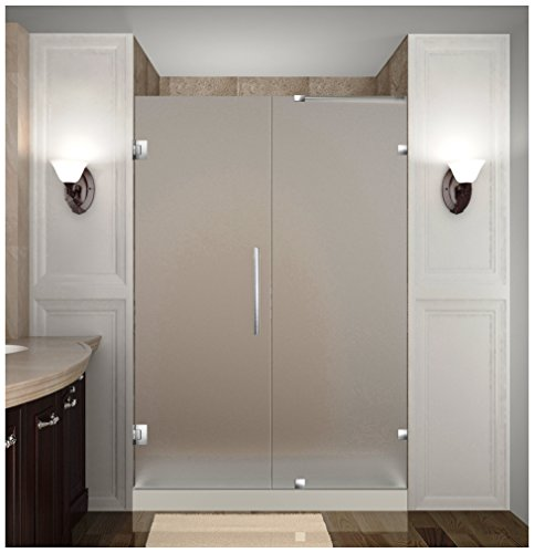 [Aston Nautis Completely Frameless Frosted Glass Hinged Shower Door, 48