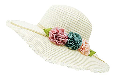 Bienvenu Girl Kids Sun Hat Summer Wide Brim Floppy Beach Sun Visor Hat with Flowers,White