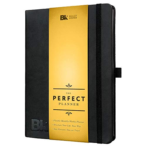 (The Perfect Planner - Undated 12 Month Monthly & Weekly Agenda to Organize Your Life, Increase Productivity. Black Hardcover Vegan Leather)
