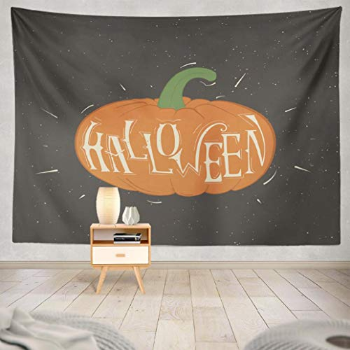 Fuatto Happy Halloween Tapestry Wall Hanging Tapestry Pumpkin with Words Happy Halloween Poster Holiday Invitation Decorative Tapestry Polyester 60 L x 80 W for Bedroom Living Room -