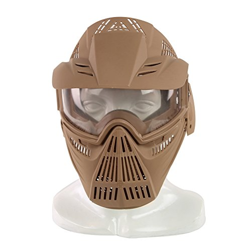 YASHALY Airsoft Mask, Adjustable Full Face Army Military Tactical Gear with Goggle Eye Protection for Paintball CS Game BB Gun and Party (Tan) ()