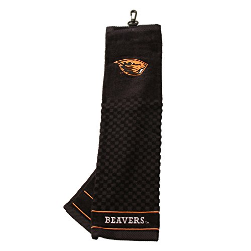Team Golf NCAA Oregon State Beavers Embroidered Golf Towel, Checkered Scrubber Design, Embroidered Logo