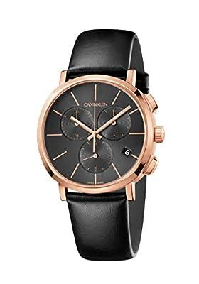 Calvin Klein Mens Chronograph Quartz Watch with Leather Strap K8Q376C3