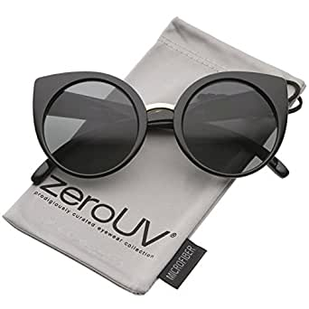 zeroUV - Women's High Fashion Oversize Round Lens Cat Eye Sunglasses 55mm (Black-Gold / Smoke)