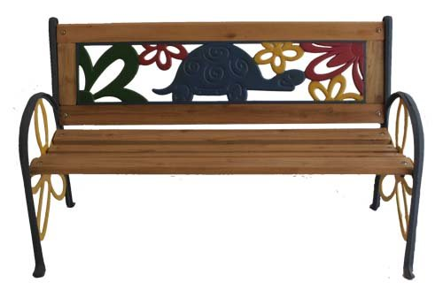 Tortoise Junior Park Bench -- Cast Iron Kids Park Bench With Resin Back For Yard and Garden Product SKU: PB10015