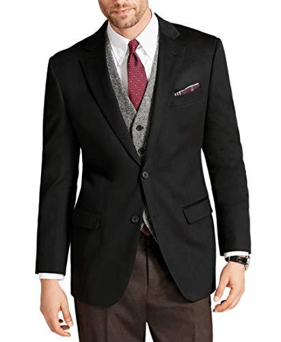 Brooks Brothers Men's Fitzgerald Fit 100% Cashmere Two Button Blazer Jacket Sport Coat Black (48R Regular)