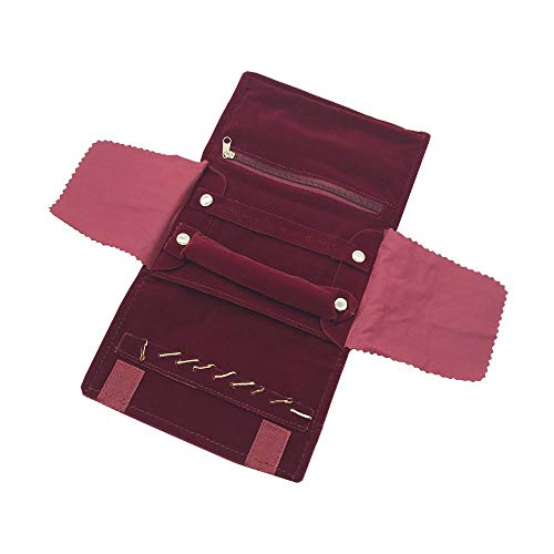 UnionPlus Small Velet Travel Jewelry Case Roll Bag Organizer for Necklace Bracelet Earrings Ring, Burgundy (Small Burgundy) ()