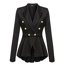 ACEVOG Women's Crop Slim Fit Casual Work Peplum Blazer Jacket Coat