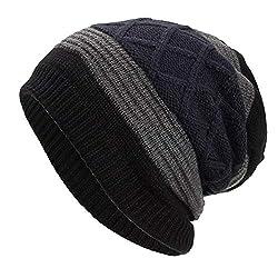 Iybuia Unisex Warm Baggy Weave Crochet Winter Wool Knit Ski Beanie Skull Caps Hat Black One Size
