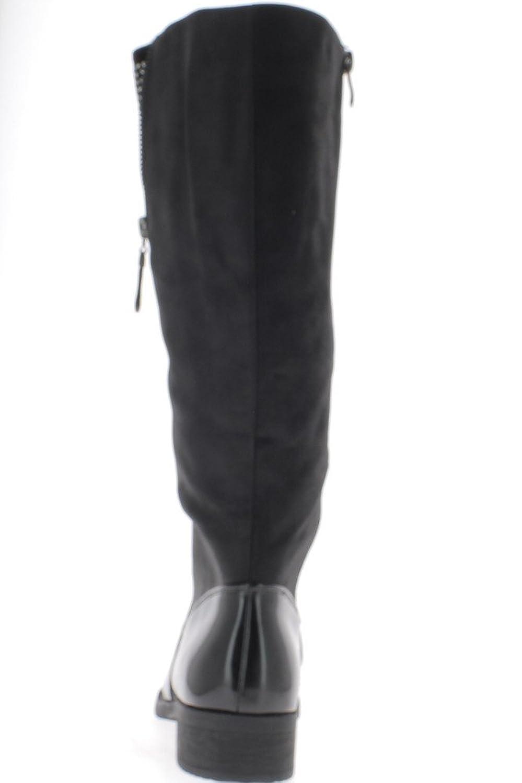 Caminos de herradura negra botas con look de 3,5 cm de tacón volvieron cuero y caucho - 36