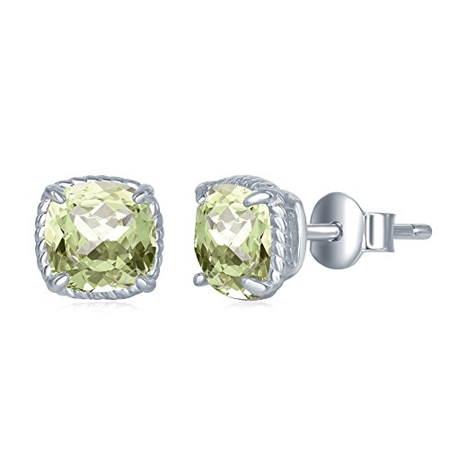 Sterling Silver Genuine Green Amethyst Cushion Cut Square 6mm Natural Gem Birthstone Stud Earrings