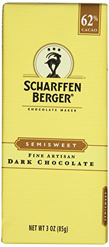 SCHARFFEN BERGER Chocolate Bar (Semi-sweet Dark Chocolate, 3-Ounce Bars, Pack of 6)
