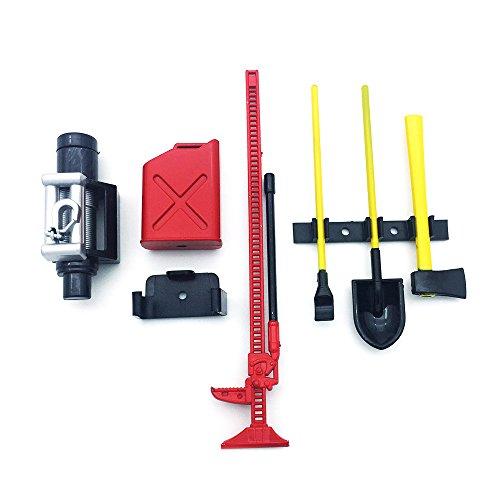 RC Crawler 1:10 Accessories Red Mini Fuel Tank Winch Jack Tools Kit for Axial SCX10 TAMIYA CC01 RC4WD D90 D110 RC Truck Car ()