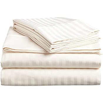 1200 Thread Count Egyptian Cotton 1200TC Sheet Set, California King, Ivory  Damask