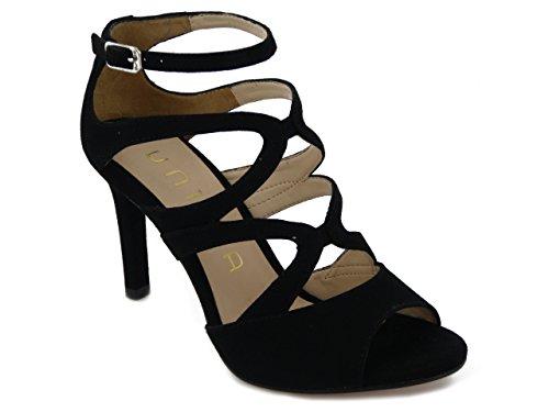 Unisa sandalo elegante in camoscio nero, tacco 8cm., Wence E17