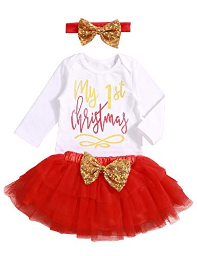 Christmas Baby Girl Clothes My 1st Christmas Costume with Headband & Bodysuit & Tutu Skirts Party Dresses Outfits Sets 9-12 ()