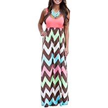 Shangke Womens Zig Zag Scoop Neck Wave Striped Tank Maxi Long Dress
