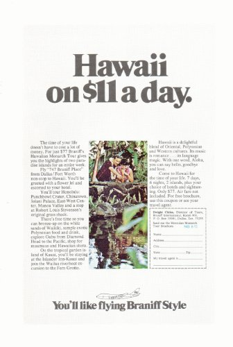 1972 Braniff Airlines Hawaiian Monarch Tour Vintage Retro Magazine Advertising Vintage Ads