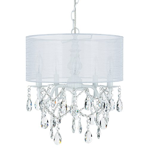 Luna White 5 Light Crystal Chandelier with Drum Shade, Glass Beaded Swag Plug-In Pendant Wrought Iron Cylinder Shaded Ceiling Lighting Fixture Lamp ()