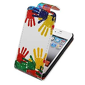 LIMME Colorful Slap Mark Up-down Turn Over Full Body Case for iPhone 4/4S