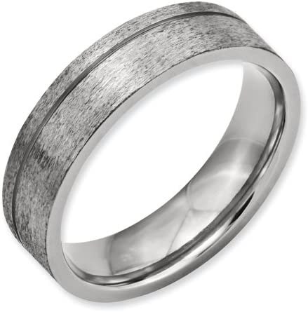 Titanium Grooved 6mm Satin Band Best Quality Free Gift Box