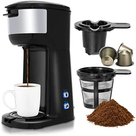 Costway Coffee Maker, Portable Auto Shut-off 2-in-1 Coffee Maker, Single Cup Coffee Brewer Built-in Filter, Thermal Drip Instant Coffee Machine, Ground Coffee and Coffee Capsules Coffee Machine 1000W Black