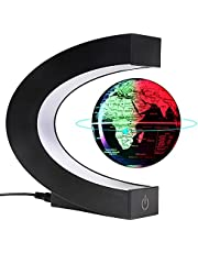 """Magnetische zwevende en zwevende bollen 3 """"Wereldkaart met led-verlichting, coole spullen en kantoorinrichting voor mannen Unieke verjaardagscadeaus"""