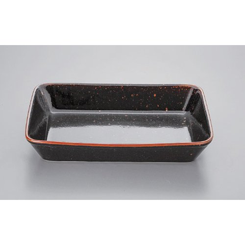 Plate utw580-6-144 [12.5 x 9.1 x 2.3 inch] Japanece ceramic Black Tianmu 14 inch lasagna tableware