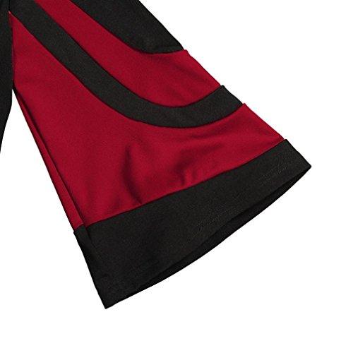 Femmes HENPI Rouge Cold Pull Tops Sweat Automne Femme Tops Longues Chemise pour Mode Chemisier S Manches Shoulder 2XL Chemise Hiver SddnHrpwxq