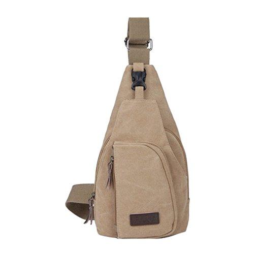 Secret paradise Hombre Satchel de lona pequeña bolsa de hombro bolsa de viaje mochila de senderismo, color caqui
