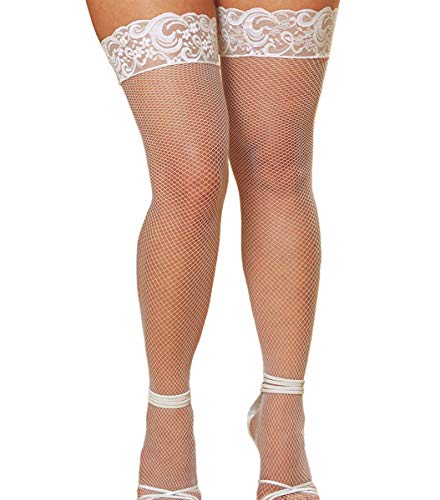 WisLotife Women's plus size Fishnet Thigh-High Stockings Sexy Lycra Stockings Lace Top Lingerie Knee High Socks