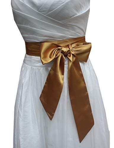 - Wedding satin sash belt for special occasion dress bridal sash (Gold)