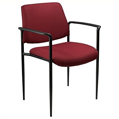 Boss Office Products B9503-BK Square Back Fabric Dimond Stacking Chair with Arms in Black