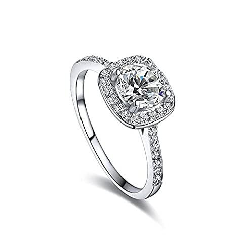 Vanjo Women's Cubic Zirconia CZ Crystal Engagement Wedding Band Anniversary Promise Fashion Jewelry Ring Sparkly Ring Big Square Finger Ring (Binders 3 Ring Fashion)