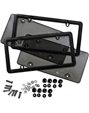 Zone Tech Clear Smoked Unbreakable License Plate Shields Combo - 2-Pack Novelty/License Plate Clear Smoked Unbreakable Bubble Shields with Frames