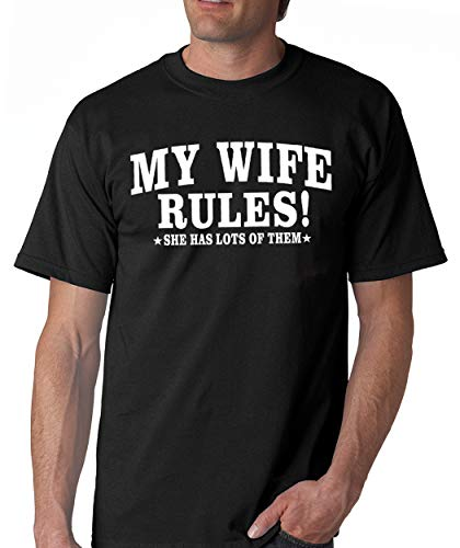 SignatureTshirts Men's My Wife Rules! She has Lots of Them Funny Valentine's Day t-Shirt Cute Couple Husband Wife Gift Black