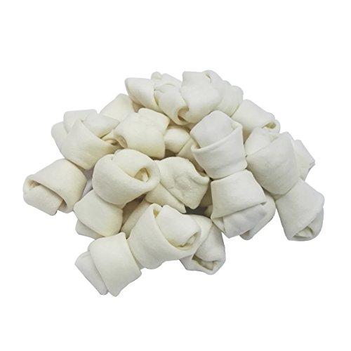 "41II68VWTEL - Mainstreet Rawhide Knot Bones Dog Bulk Treats Chews Natural Rawhide 2.5"" 60-Count/4"" 15-Count Healthy Dog Teeth"